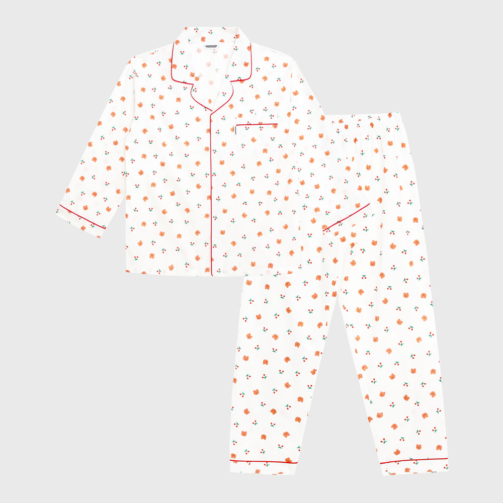 Dot cherry bear-white(Pajamas)